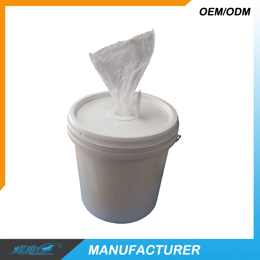 Individual wet wipes in bucket